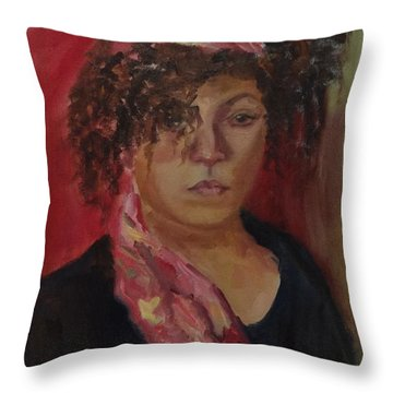 Libby Life Sketch Throw Pillow by Carol Berning