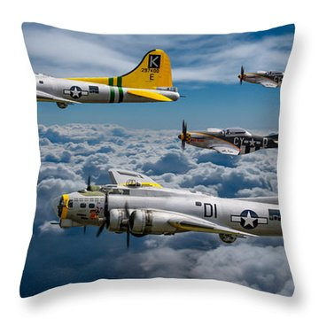 Liberty Belle And Fuddy Duddy With Mustangs Throw Pillow by Ken Brannen