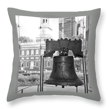 Liberty Bell And Independence Hall Bw Throw Pillow by Barbara McDevitt