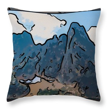 Liberty Bell Mountain Abstract Landscape Painting Throw Pillow