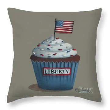 Liberty Cupcake Throw Pillow by Catherine Holman