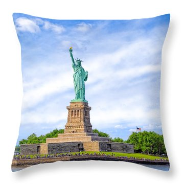 Liberty Enlightening The World - New York City Throw Pillow by Mark E Tisdale