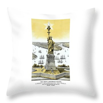 Liberty Enlightening The World  Throw Pillow by War Is Hell Store