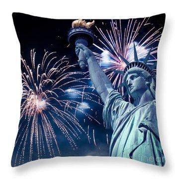 Liberty Fireworks Throw Pillow