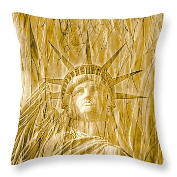 Throw Pillow featuring the photograph Liberty Is Golden by Dyle   Warren