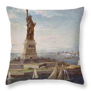 Liberty Island New York Harbor Throw Pillow by Fred Pansing