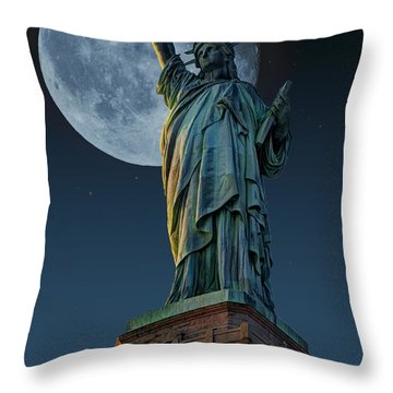 Liberty Moon Throw Pillow by Steve Purnell