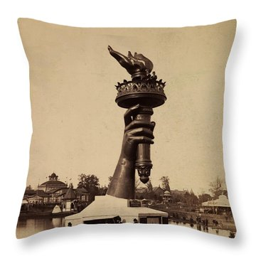Liberty Torch At Philadelphia For Us Centennial 1876 Throw Pillow by Bill Cannon