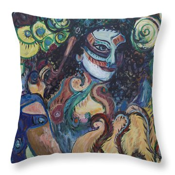 Throw Pillow featuring the painting Librarian Of The Night #1 by Avonelle Kelsey