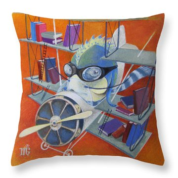 Throw Pillow featuring the painting Librarian Pilot by Marina Gnetetsky