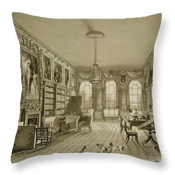 Library As Sitting Room, Cassiobury Throw Pillow