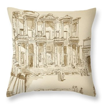 Library At Ephesus II Throw Pillow