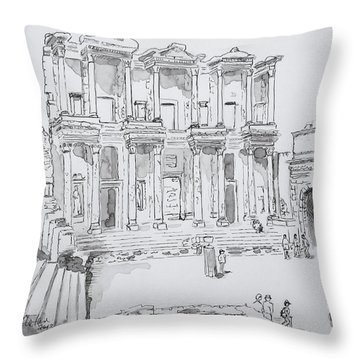 Library At Ephesus Throw Pillow