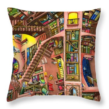 Library Throw Pillow by Colin Thompson