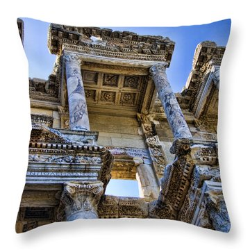 Library Of Celsus Throw Pillow by David Smith