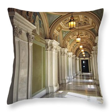 Library Of Congress Hallway Washington Dc Throw Pillow