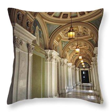 Library Of Congress Hallway Washington Dc Throw Pillow