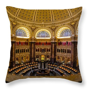 Library Of Congress Main Reading Room Throw Pillow