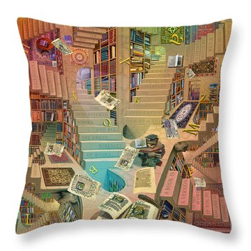 Library Of The Mind Art Throw Pillow by Garry Walton