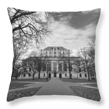 Library Ohio State University Black And White  Throw Pillow