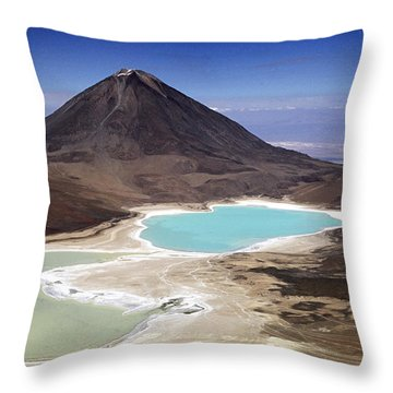Licancabur Volcano And Laguna Verde Throw Pillow by James Brunker