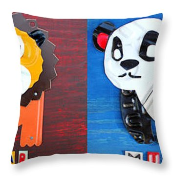 License Plate Art Jungle Animals Series 1 Throw Pillow by Design Turnpike