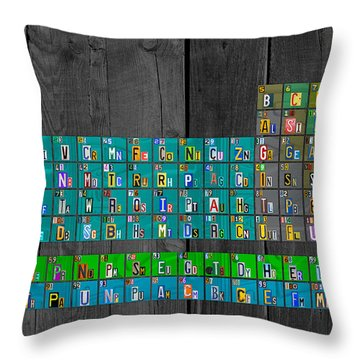 License Plate Art Recycled Periodic Table Of The Elements By Design Turnpike Throw Pillow by Design Turnpike