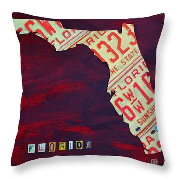License Plate Map Of Florida By Design Turnpike Throw Pillow
