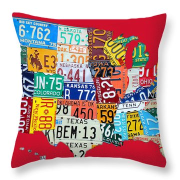 License Plate Map Of The United States On Bright Red Throw Pillow