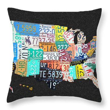 License Plate Map Of The United States On Gray Felt With Black Box Frame Edition 14 Throw Pillow by Design Turnpike