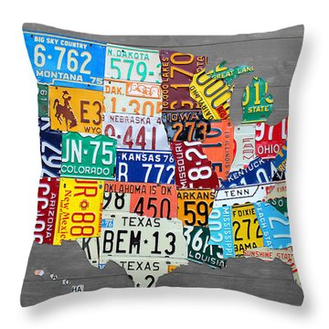 License Plate Map Of The United States On Gray Wood Boards Throw Pillow