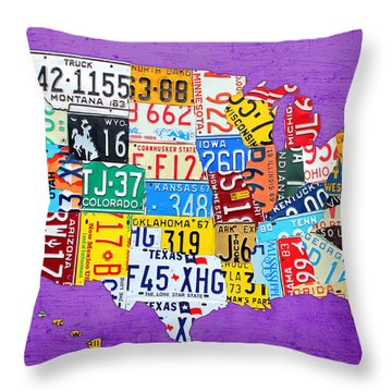 License Plate Map Of The United States On Vibrant Purple Slab Throw Pillow by Design Turnpike