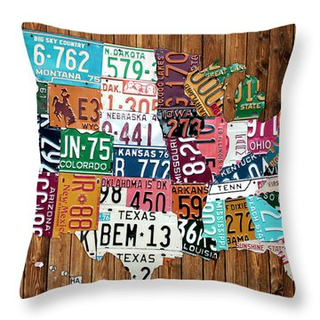 License Plate Map Of The United States - Warm Colors On Pine Board Throw Pillow by Design Turnpike