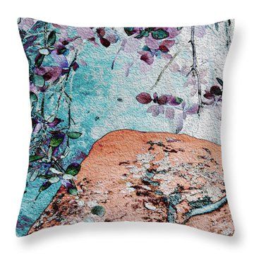 Lichen And Leaves Throw Pillow