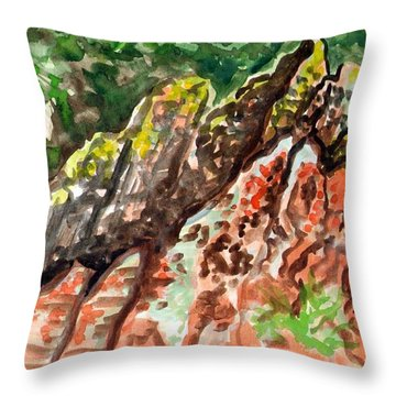 Throw Pillow featuring the painting Lichen Rocks by Ashley Kujan