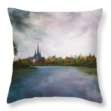 Lichfield Catherdral A View From Stowe Pool Throw Pillow by Jean Walker