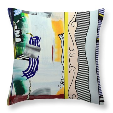 Lichtenstein's Painting With Statue Of Liberty Throw Pillow