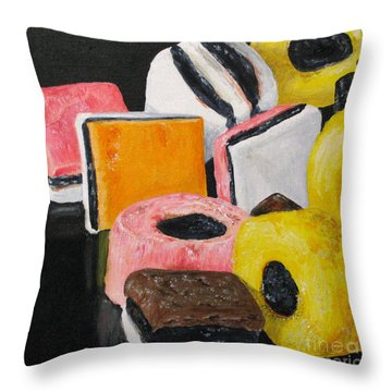 Licorice Candy Throw Pillow by Nancie Johnson