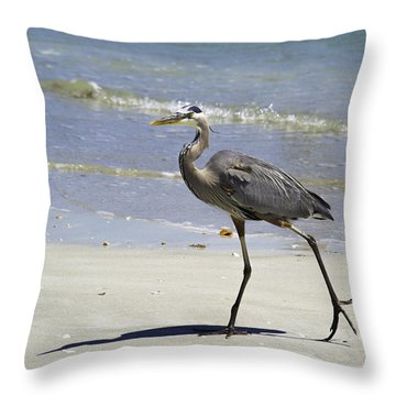Lido Beach Blue Throw Pillow