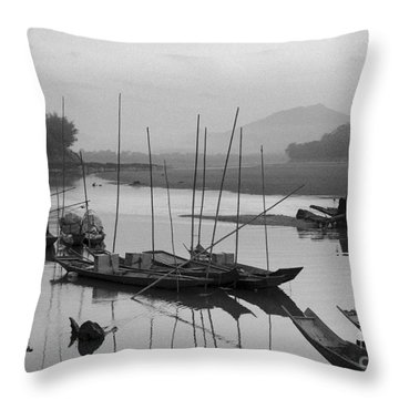 life at Mae Khong river Throw Pillow