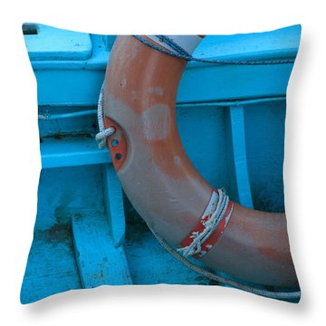 Life Belt In A Skiff Throw Pillow by Ulrich Kunst And Bettina Scheidulin