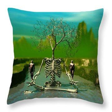 Life Death And The River Of Time Throw Pillow