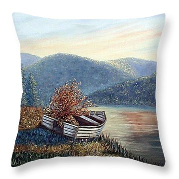 Throw Pillow featuring the painting Life Goes On by Fran Brooks