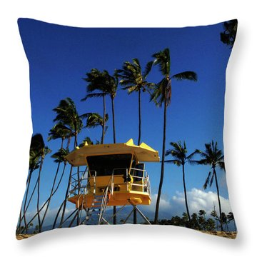 Life Guard Station Throw Pillow by Bob Christopher