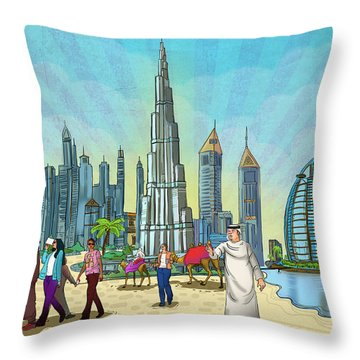 Life In Dubai Throw Pillow