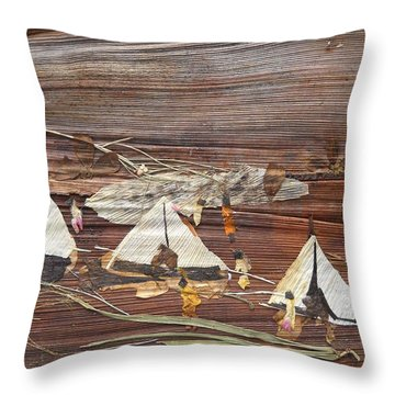 Life In Tents Throw Pillow by Basant Soni