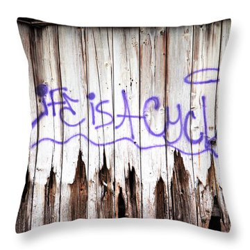 Life Is A Cycle Throw Pillow by Amanda Barcon
