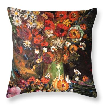 Throw Pillow featuring the painting Life Is Like A Vase Of Flowers by Belinda Low