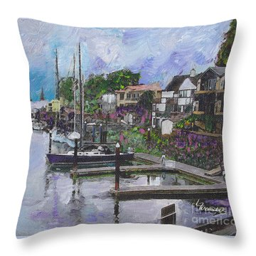 Throw Pillow featuring the painting Alameda Life On The Estuary by Linda Weinstock