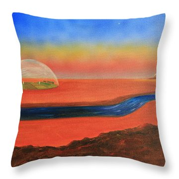 Throw Pillow featuring the painting Life Will Find A Way by Tim Mullaney